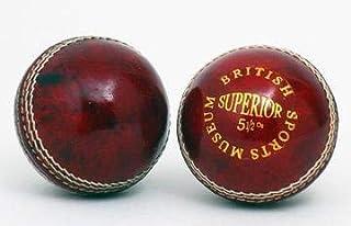 British Sports Museum Superbe Rouge 5 1/2oz Cuir Balle de Cricket