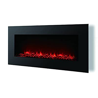 """HomCom 40"""" LED Wall Mounted Electric Fireplace w/Remote - Black"""