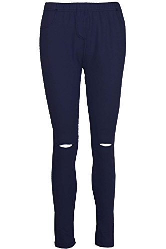 Be Jealous femmes coupe skinny genou Découpe doublé femmes COMPLET cheville longueur legging jegging UK grande taille 8-26 - Bleu marine, Plus Size (UK 24/26)