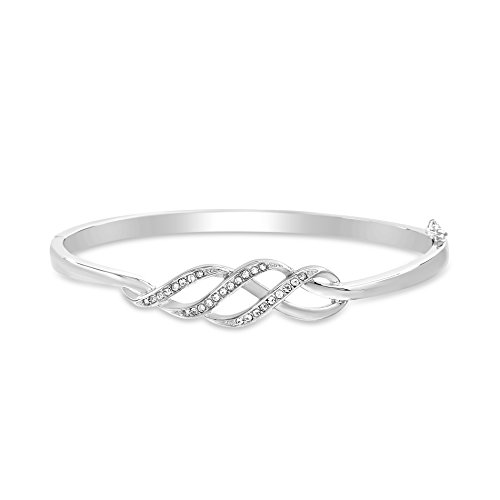 Devin Rose Twisted Bangle Bracelet for Women Made with Swarovski Crystal in Rhodium Plated Brass