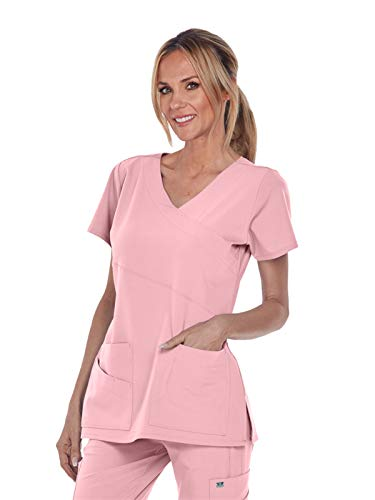 Grey's Anatomy Signature 2130 Mock Wrap Top Rose Blush 2XL