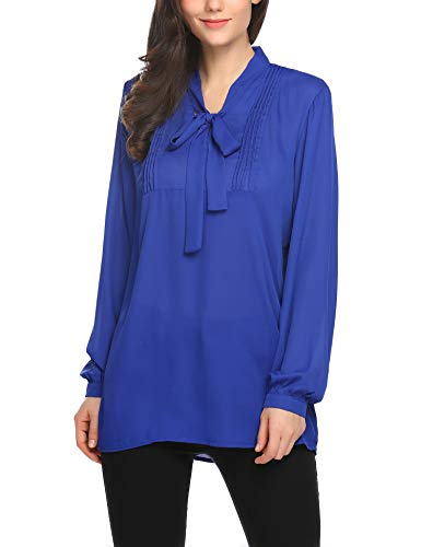 (SE MIU Womens Bow Tie Neck Long Sleeve Casual Office Work Chiffon Blouse Shirts Tops)