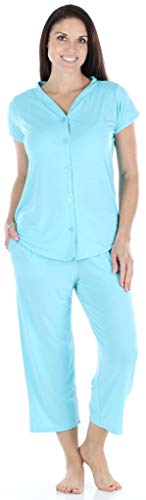 PajamaMania Women's Sleepwear Stretchy Knit Short Sleeve Button Up Top and Capri Pant Pajama Set (PMR1923-2021-XL) Caribbean Blue