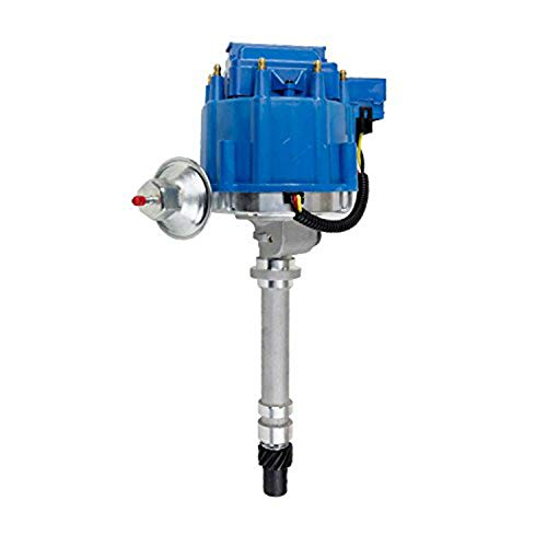 (A-Team Performance Complete HEI Distributor 65K Coil 7500 RPM Compatible with Chevrolet GM GMC Small Block Big Block SBC BBC Chevy Corvette Tach Drive 1962-1974 One-Wire Installation Blue Cap)