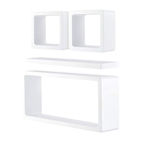 falcon kraft Wall Décor Shelves Set [4 Pieces]   2 Floating Shelf Cubes, 1 Rectangle & 1 Ledge Shelf   Durable, Hanging Wall Mount Home Décor Shelf Set for Living Room (White)