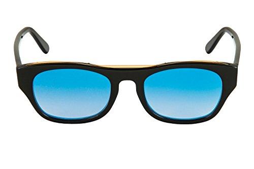 femme Eligo Brillant Noir SEA Italy lentille uv400 052 protection homme monture rectangulaire pour et in Made cr39 acétate Lunettes BLUE Soleil De g1wRgqr8