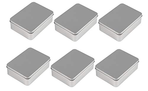 - Juvale Rectangular Tin Box with Lid - 6-Pack Empty Tin Can Storage Container for Treats, Gifts, Favors and Crafts, Silver, 4.9 x 3.7 x 1.6 Inches