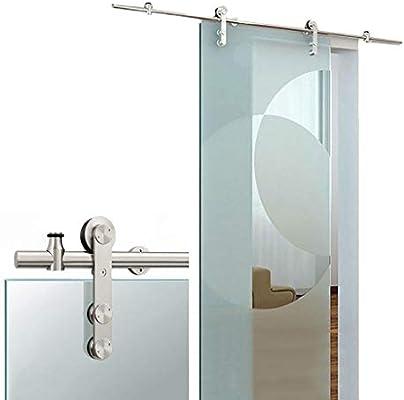 GWXFHT Herraje para Puerta Corredera Kit 3.3ft-12ft Riel Deslizante de Acero Inoxidable con Puerta de Vidrio - Kit Completo de Hardware, Accesorios para rieles Colgantes de Puerta de Granero de baño: Amazon.es: