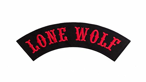LONE WOLF Black w/ Red Top Rocker Iron On Patch for Motorcycle Rider or Bikers Vest (Red And Black Rocker Patch)