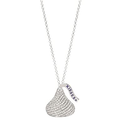 Amazon hersheys kiss jewelry sterling silver with cz large 3d hersheys kiss jewelry sterling silver with cz large 3d shaped pendant mozeypictures Image collections