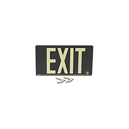 100 Viewing Distance Wall Mounted ABS Plastic Black 9.5 x 17.25 x 0.25 Glo UL 924 Listed Exit Sign