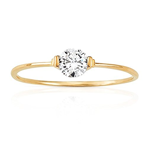 Slight Wave Solitaire CZ Stackable Promise Ring in 14K Yellow Gold (5) by Jewel Connection