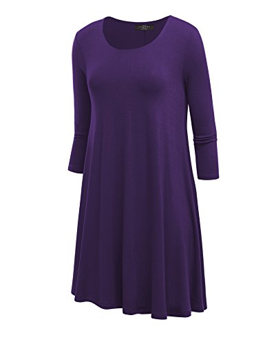 Kiki's Delivery Service Costume (LL WDR930 Womens Round Neck 3/4 Sleeves Trapeze Dress with Pockets XL PURPLE)