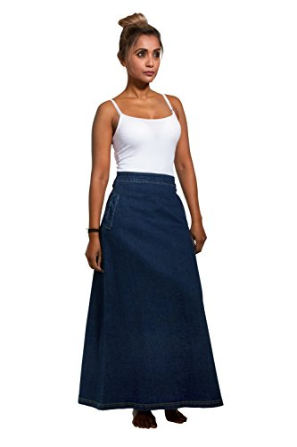 Lottie Long Denim Skirt - Darkwash Maxi Jean Skirt with Stretch US 10-20 Blue