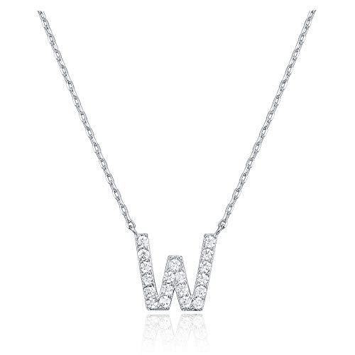 - PAVOI 14K White Gold Plated Cubic Zirconia Initial Necklace | Letter Necklaces for Women | W Initial