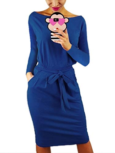kigod Women Stylish Long Sleeve Belted Wrap Bodycon Midi Dress Crew Neck Party Pencil Dress with Pockets (Blue, Large)