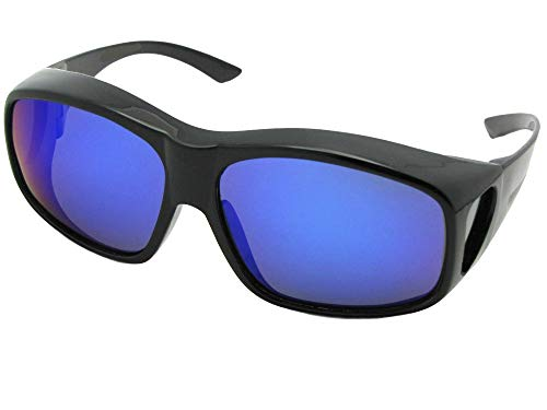 Largest Color Mirror Polarized Fit Over Sunglasses Fit Over Prescription Glasses Style F19 (Black Frame-Polarized Blue Mirror Gray ()
