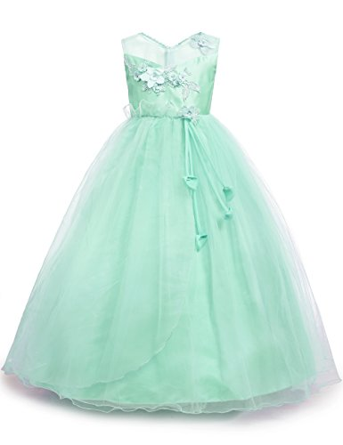 aibeiboutique Little Big Girls Party Gown Princess Lace Dress Model 708 (Green, 9-10 Years) ()