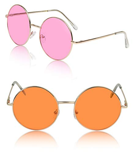 Non-Prescription Glasses Joplin Gift 70s 90s Ladies Fun Disco UV 400 Pink Orange -