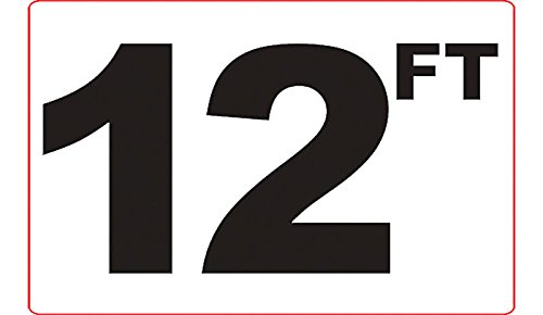 12 FT 3M Adhesive Depth Marker 9 Inch x 6 Inch with 4 Inch Lettering Aquatic Technology 120FTSW0906