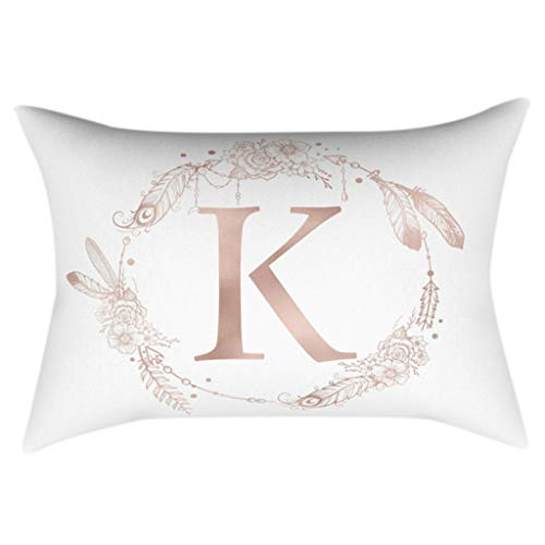 Kofun 30x50cm Rectangle Throw Pillow Case Rose Gold Alphabet Letter Wreath Feather Printed Cushion Cover Polyester Peach Velvet Kids Bedroom Decorative K#