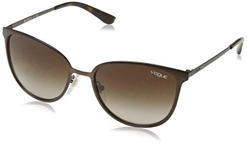 Vogue Women's  VO4002S Pillow Metal Sunglasses, Matte Brown Burnt /Brown Gradient, 55 mm