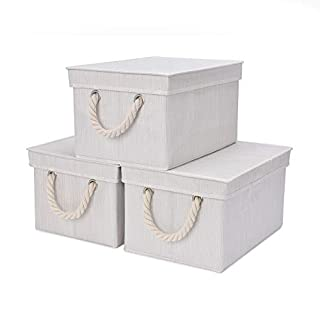StorageWorks Storage Bins, DVD Storage Box With Lid And Cotton Rope  Handles, Foldable Storage