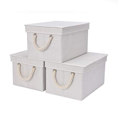 StorageWorks Storage Bins, DVD Storage Box with Lid and Cotton Rope Handles, Foldable Storage Basket, White, Bamboo Style, 3-Pack, Medium, 11.4x8.7x6.9 inches. (LxWxH)