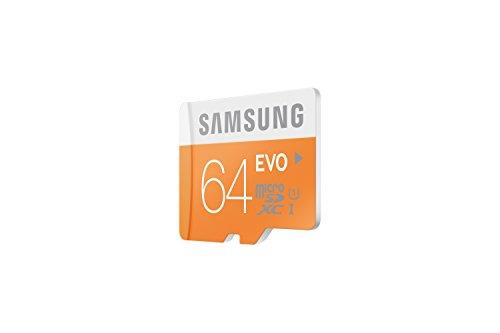 Samsung memory 64gb evo microsdxc uhs-i grade 1 class 10 memory card without adapter 3 samsung 64gb, microsdxc evo, 64 go, micro secure digital extended capacity (microsdxc), 48 mo/s, orange, blanc, water resistant, -25 - 85 c