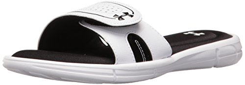 - Under Armour womens Ignite VIII Slide Sandal, White (100)/Black, 10