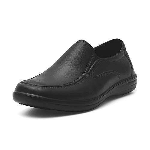 babaka Men's Slip Resistant Shoes for Men Work Boots Slip On Food Service Shoes Black Size 10 (Mens Slip Resistant Shoes)