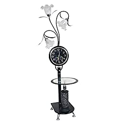 Iron Floor Lamp | Modern Minimalist Style Standing Lamp with Table and Clock | for Living Room Bedroom 40X170cm (Color : Black)
