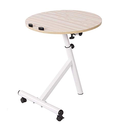 NAN Liang Round Multicolor Side/End/Laptop/Coffee Table- Adjustable Round Table (Clear) Folding Tables (Color : Maple) ()