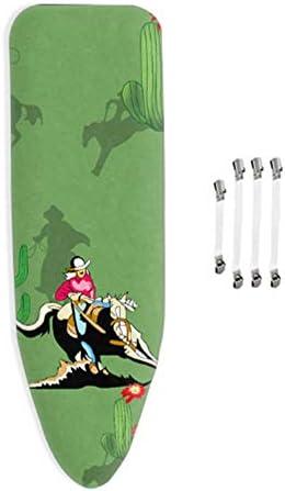 Padwspro Housse de Table à Repasser, 100% Coton Advanced Exquisite, avec 4 Clips, Convient à Une Planche à Repasser Standard de 150x50cm,Vert