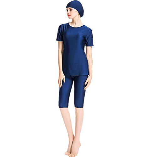 GUTTEAR Swimwear Swimsuits for Women,Women Muslim Bathing Suit + Cap + Pants Navy