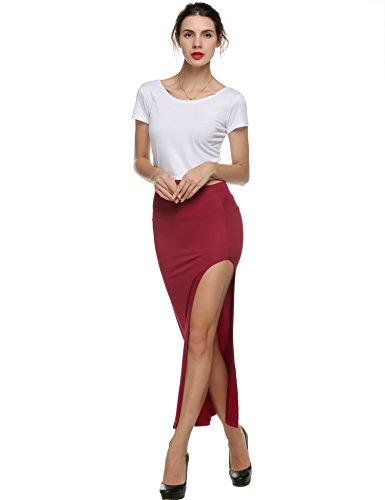 Teamyy Falda de moda larga casual de las mujeres falda atractiva Rojo