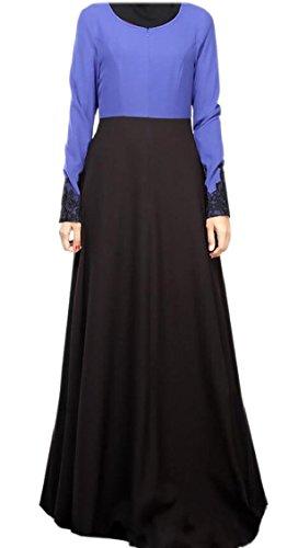 A Jaycargogo Lunghe Vestito Maniche Kaftan Blu Lungo Islamico Musulmano Donne Hxq6wr0TH