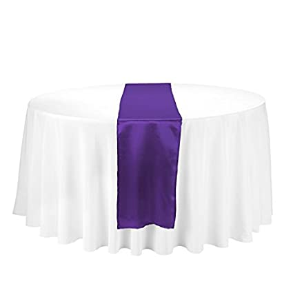 LinenTablecloth 14 X 108 Inch Satin Table Runner Purple