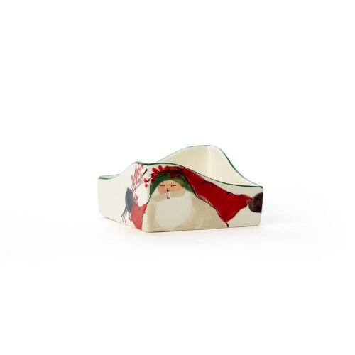 Vietri Old St. Nick Cocktail Napkin Holder, Handcrafted Christmas Add-on