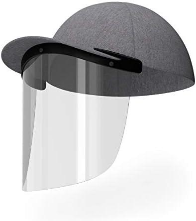 CapLens Full Face Shield Cap Accessory, Anti-Fog, Adjustable, Reusable, Slip onto Your Existing Cap Black
