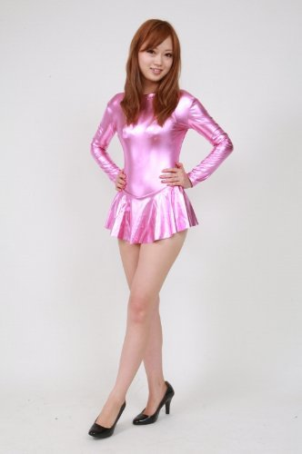 Shiny Metallic High Necked Long Sleeved Leotard With Skirt