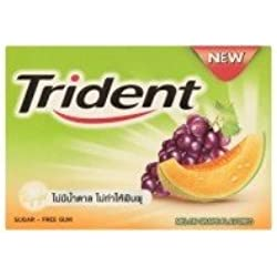 Trident Recaldent Chewing Gum Melon Grape Flavored Sugar Free Dental Health Net Wt 11.2 G(pack of 3)