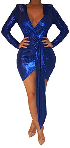 Women's Bodycon Glitter Stretchable Dress Summer Sexy Deep V Neck Long Sleeve Sparkly Breathable Mini Clubwear Ruched Belt for Cocktail Night Dark Blue