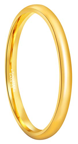 Gold 24k Dome - RoyalKay 2mm 4mm 6mm 24k Gold Plated Tungsten Wedding Ring Band Men Women Couple Domed High Polished Comfort Fit Size 3.5 To 17 (2mm,5.5)