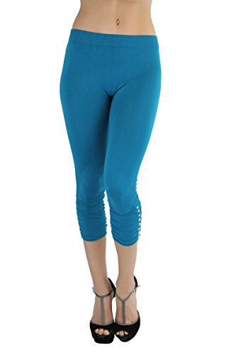 ToBeInStyle Women's Rhinestone Accent Ruched Capri Leggings (Teal)
