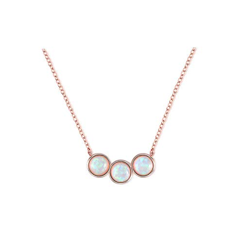 UltraSunday Round Cut 3 Stones White Fire Opal Gemstone Rose Gold Plated Chaming Necklace