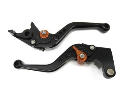 POWTEC PTBO-129 Adjustable short Brake and Clutch Levers for KAWASAKI ZX10R 04-05-BLACK WITH ORANGE