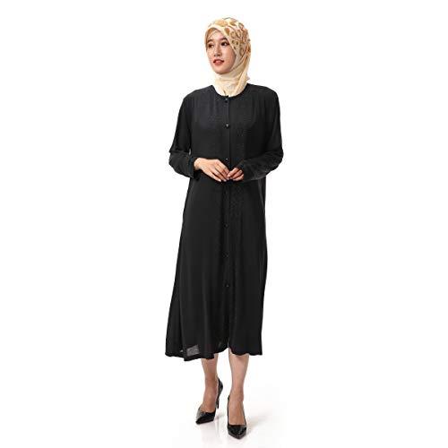 Islamico Maxi Cardigan BaronHong Nero Women's Robe abito con Abaya lunghe maniche s strass qUfxECxw0