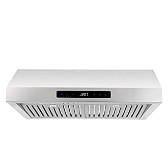 Cosmo UMC30 30-in Under-Cabinet Range Hood 760-CFM with Ducted / Ductless Convertible Duct , Kitchen Over Stove Vent with LED Light , 3 Speed Exhaust , Fan Timer , Permanent Filter (Stainless Steel)