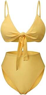 HATCHMATIC Loozykit Bikini Set éclairé Maillot de Bain Sangle Plus Size Maillots de Bain Taille Haute Bandage Beachwear Maillot De Bain Femme: Jaune, XL